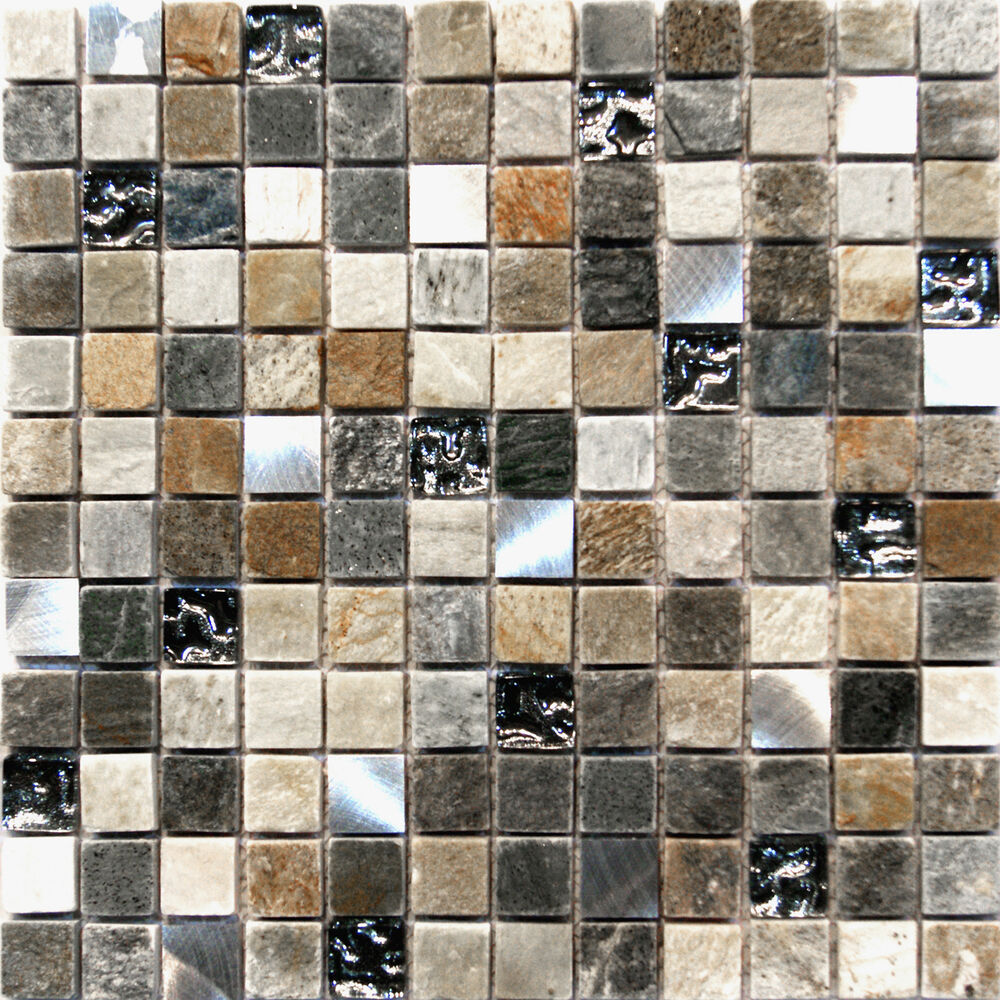 10 SF Stainless Steel Silver Glass Natural Stone Blend