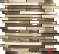 10SF- Stainless Steel Cream Beige Linear Glass Mosaic Tile ...
