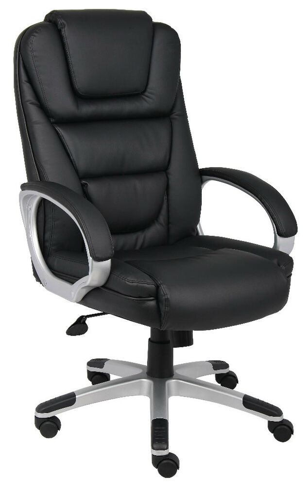 BLACK LEATHER DESK OFFICE CHAIR EXECUTIVE STYLENO TOOLS