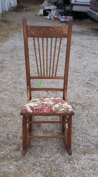 Oak Sewing Rocker Rocking Chair-rose print (R125) | eBay