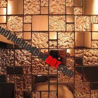 1SF- Copper Metal Pattern Textured Glass Mosaic Tile For ...