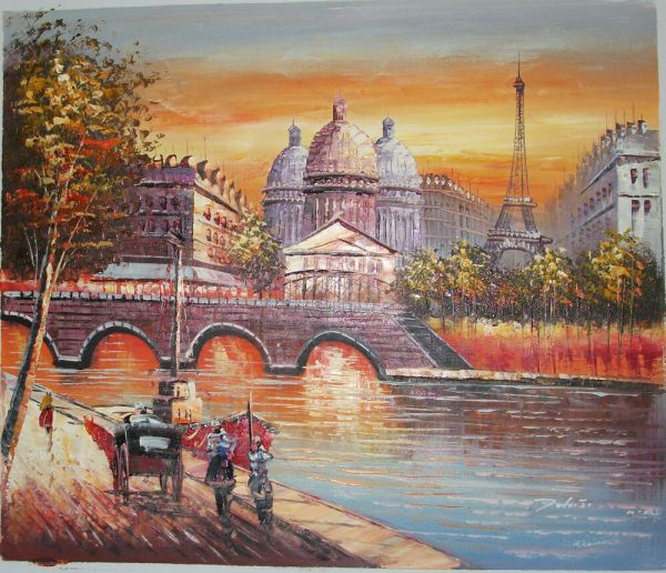 France-paris Street With Eiffel Tower Art Oil Painting