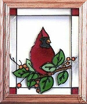 Stained Glass Hand Painted Art CARDINAL Amp BERRIES EBay