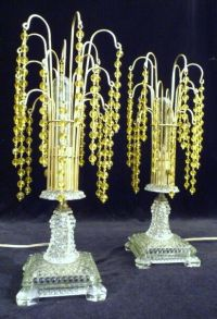 A PAIR: ART DECO CRYSTAL WATERFALL BOUDOIR TABLE LAMPS ...