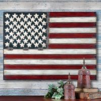 AMERICAN FLAG Folk Art METAL WALL ART PANEL Americana 3 ...
