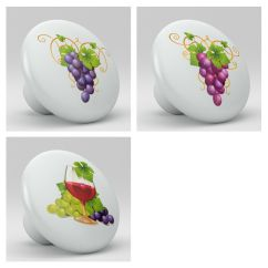 Kitchen Cabinets Ebay Small Island For Set Of 3 Red Wine Grape Ceramic Knobs Pulls Drawer ...