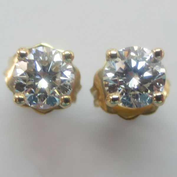 1 2 Carat Brilliant Cut Polished Diamonds Gold Stud Earrings