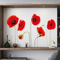 Red Poppy Flowers Decal Wall Stickers art Mural Children ...