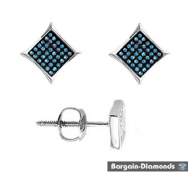 Blue Diamond .10 Carat 925 Kite Star Stud Screwback