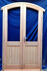 Solid Wooden Timber Arched French Doors hung in Hardwood