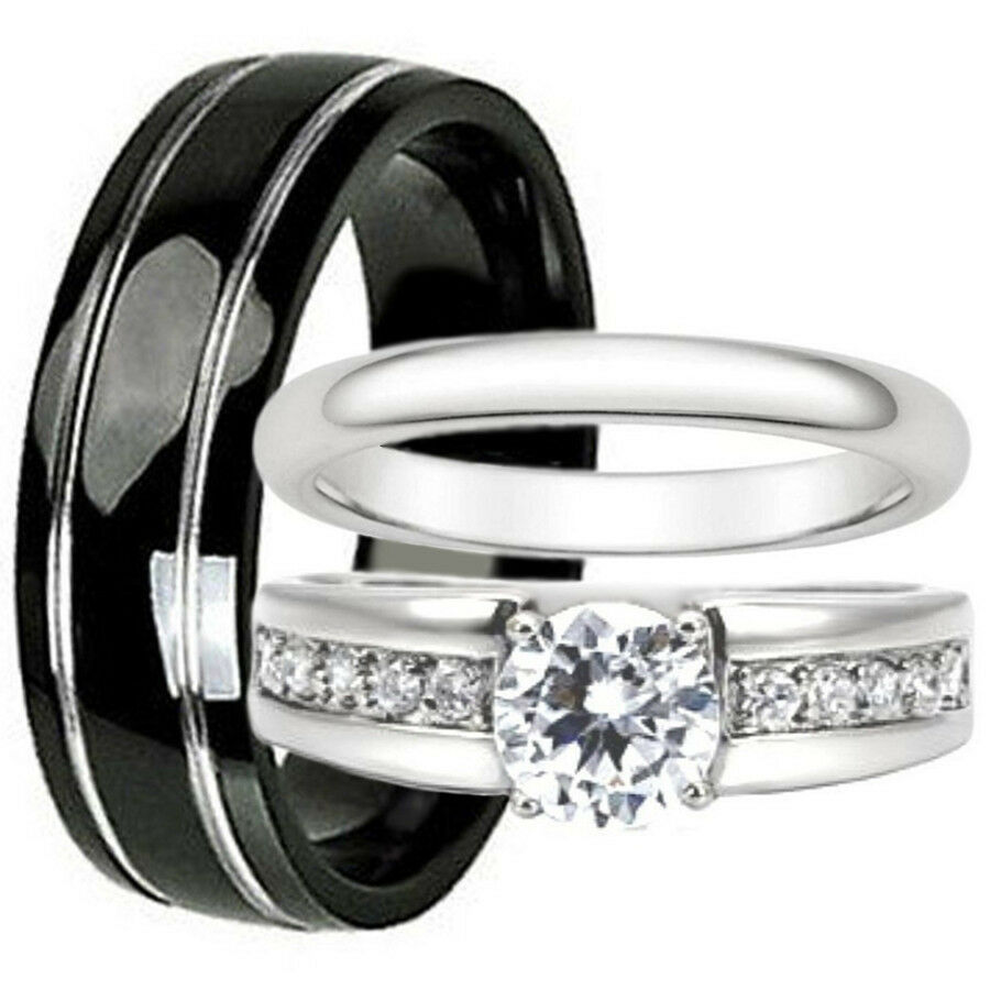 His And Hers Wedding Bands Set Black Titanium Stainless