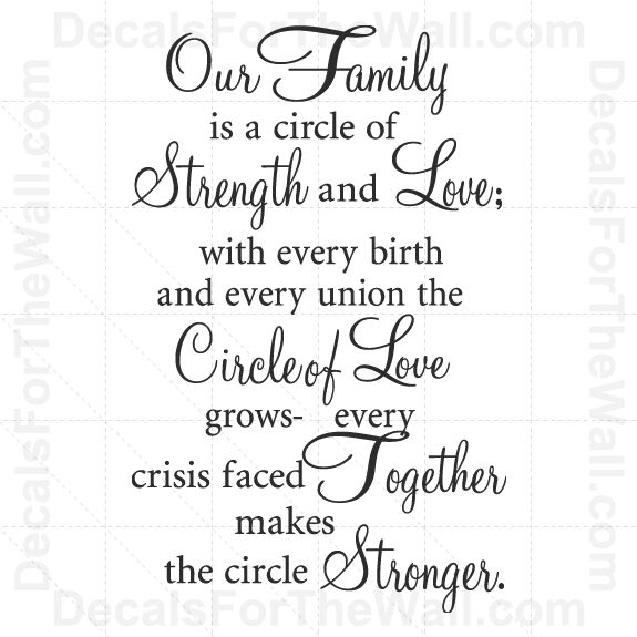 Our Family is a Circle of Strength and Love Wall Decal