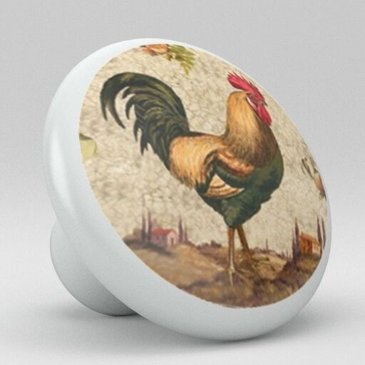 handles for kitchen cabinets set girls country rooster chicken ceramic knobs pulls drawer ...
