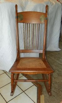 Quartersawn Oak Caned Sewing Rocker Rocking Chair (R66)
