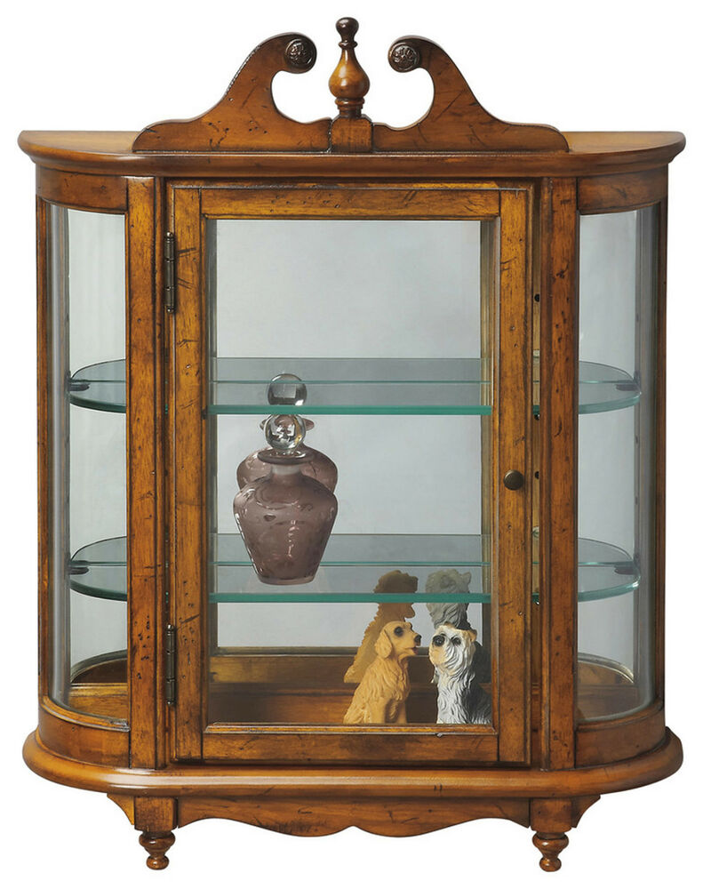 WESTBROOK WALL MOUNTED CURIO CABINET  VINTAGE OAK FINISH
