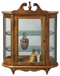 WESTBROOK WALL MOUNTED CURIO CABINET - VINTAGE OAK FINISH ...