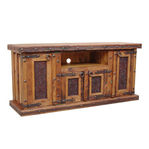 Tooled Leather TV Stand With Iron Accents Real Wood