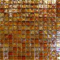 Sample-Golden Brown Iridescent Glass Mosaic Tile ...