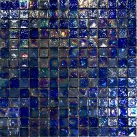 Sample-Blue Iridescent Glass Mosaic Tile Kitchen ...
