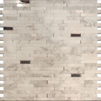 Sample-Stainless Steel Carrara White Marble Stone Mosaic ...