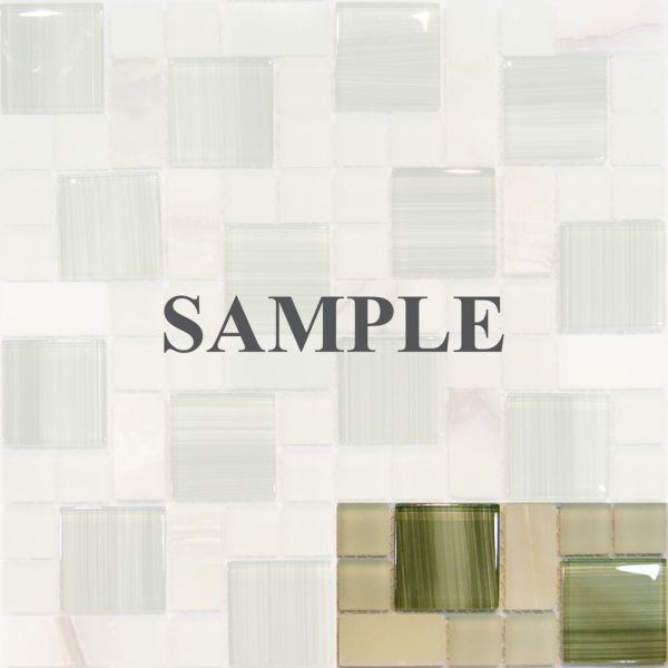 Sample-square Pattern Green Hand Painted Glass & Honey