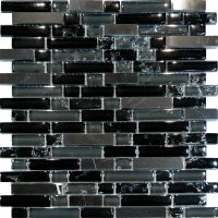 Sample-Black Marble & Crackle Glass Linear Mosaic Tile ...