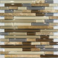 Sample-Marble Stone & Brown Beige Cream Linear Glass ...