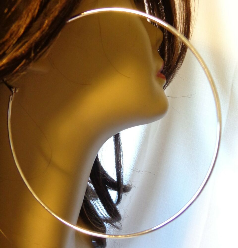 LARGE 4 INCH HOOP EARRINGS SILVER TONE SIMPLE THIN HOOPS