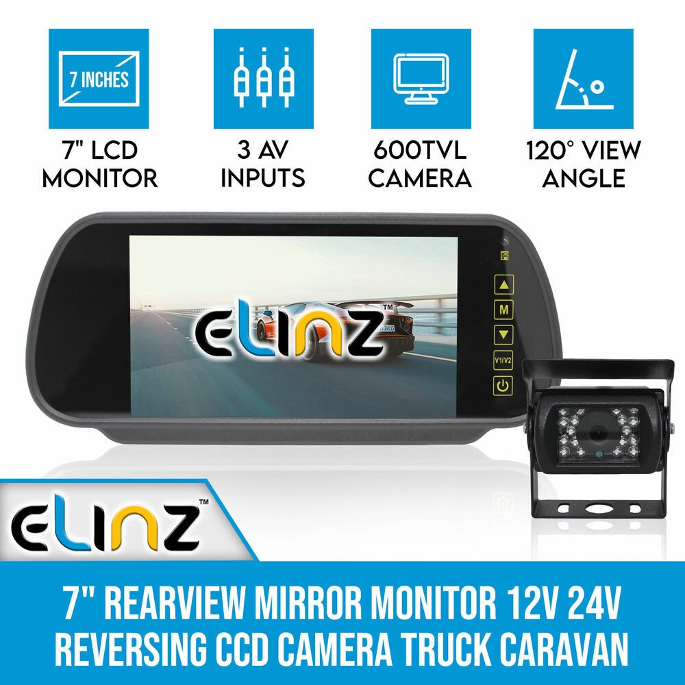 medium resolution of 7 rearview mirror monitor 12v 24v reversing ccd camera truck elinz reversing camera wiring diagram