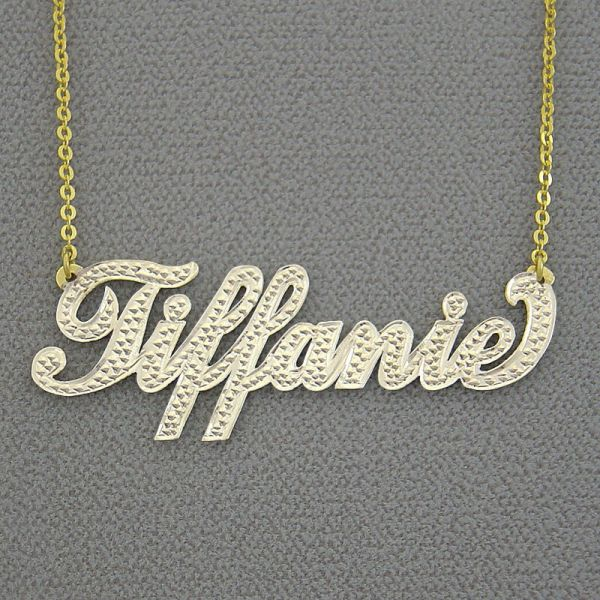 Nt03 Personalized 14k Solid Gold Two Tone Necklace
