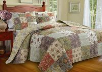 BEAUTIFUL OVERSIZED ANTIQUE BLUE IVORY GREEN YELLOW QUILT ...