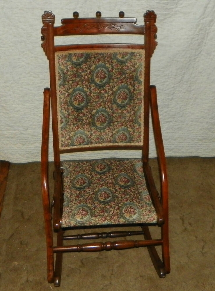 Walnut Carved Fold Up Rocker  Rocking Chair R145  eBay