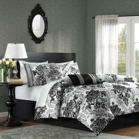 BEAUTIFUL MODERN ELEGANT CHIC BLACK GREY COMFORTER SET ...