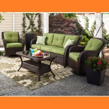 Outdoor Patio Wicker Deep Seating Furniture Set 4 Pc Sofa