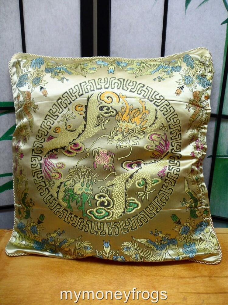 Gold Chinese Oriental Pillow Cushion Case Home Decor