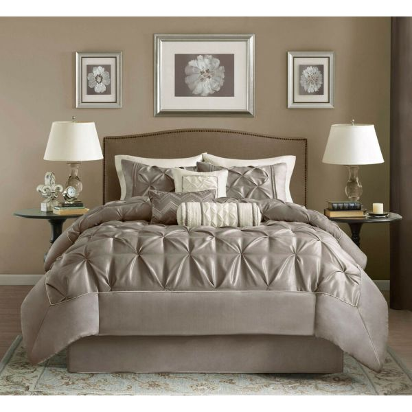 ivory and beige bedroom BEAUTIFUL BEIGE BROWN TAN IVORY TAUPE PINTUCK RUCH PLEAT RUFFLE COMFORTER SET ~ | eBay