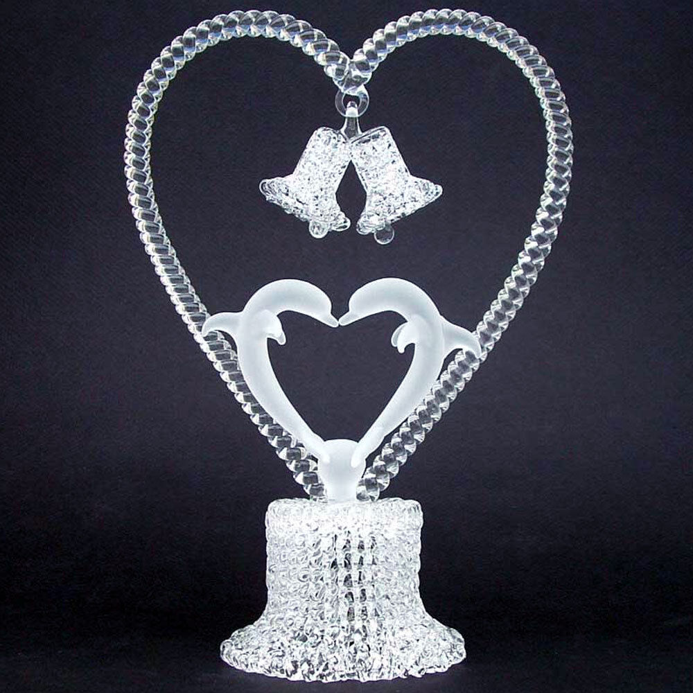 Dolphins Kissing Glass Wedding Cake Top Topper Crystal  eBay