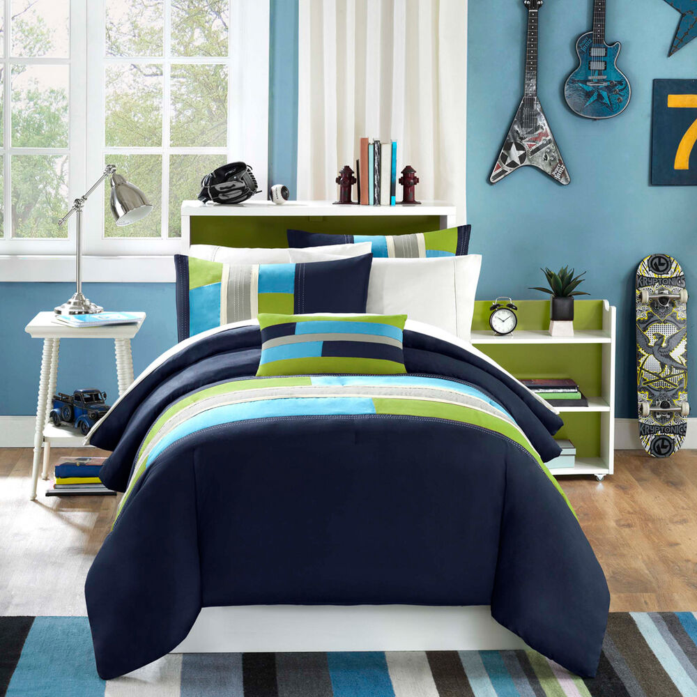 MODERN SOFT NAVY TEAL AQUA BLUE GREY STRIPE BOY COMFORTER SET TWIN XL FULL QUEEN  eBay