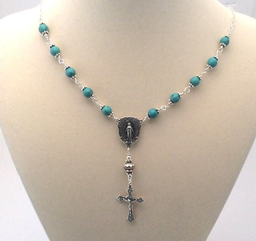 Sterling Silver Turquoise Gemstone Rosary Necklace EBay