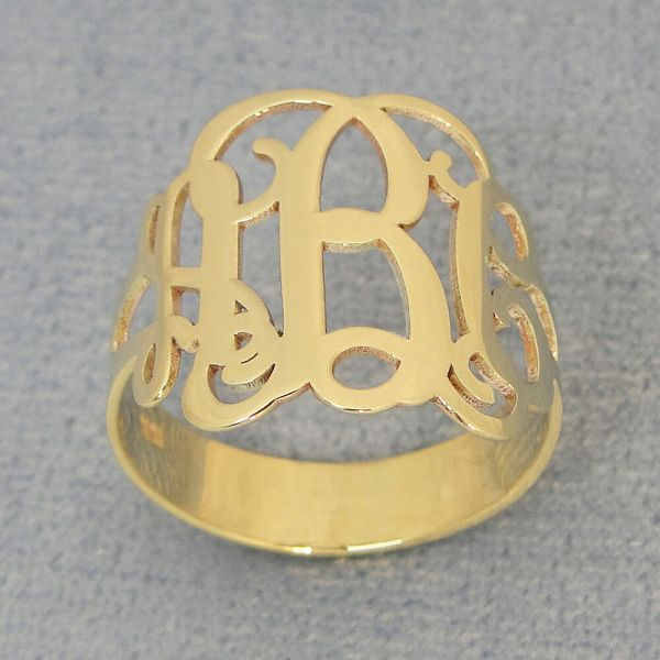 Solid 14k Gold 3 Initial Monogram Ring Fine Monogrammed