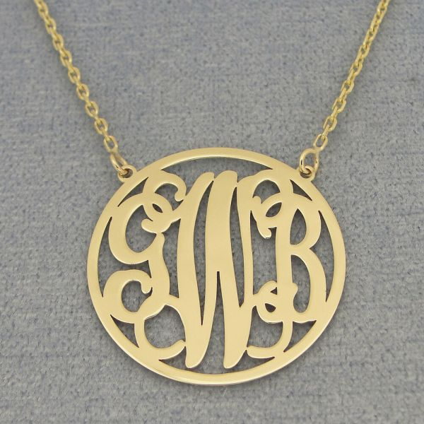 Solid 14k Gold 3 Initials Circle Monogram Necklace 1