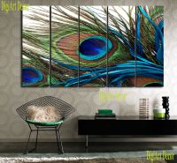 PEACOCK FEATHER 5 panel mounted fiberboard canvas wall art ...