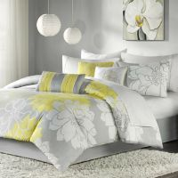 BEAUTIFUL CHIC GREY GRAY YELLOW FLORAL MODERN 6 PC ...