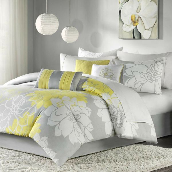 Beautiful Chic Grey Gray Yellow Floral Modern 6 Pc Comforter Set Cal & King