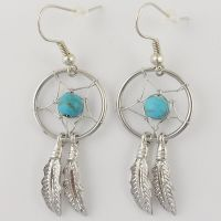 E001 Turquoise Dreamcatcher Dream Catcher Earrings