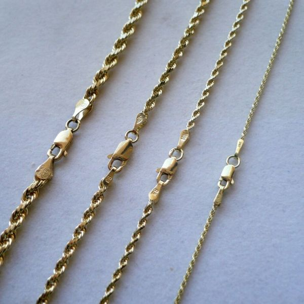 Authentic 1mm 2mm 3mm 4mm 10k Solid Yellow Gold Rope Chain Necklace 16
