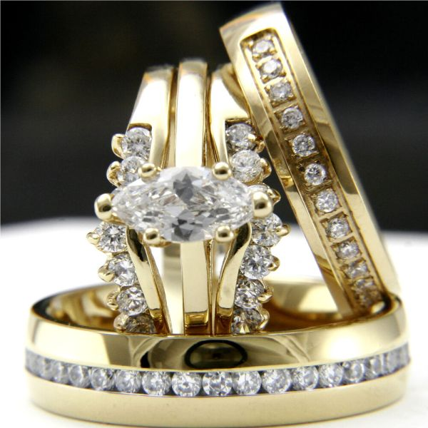 Gold Tone 0.9ct Cz Solitaire Engagement Woman' Wedding & Man' Bridal Ring Set
