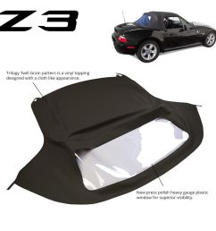 bmw z3 1996 2002 convertible soft top replacement plastic window black twill ebay [ 1000 x 1000 Pixel ]