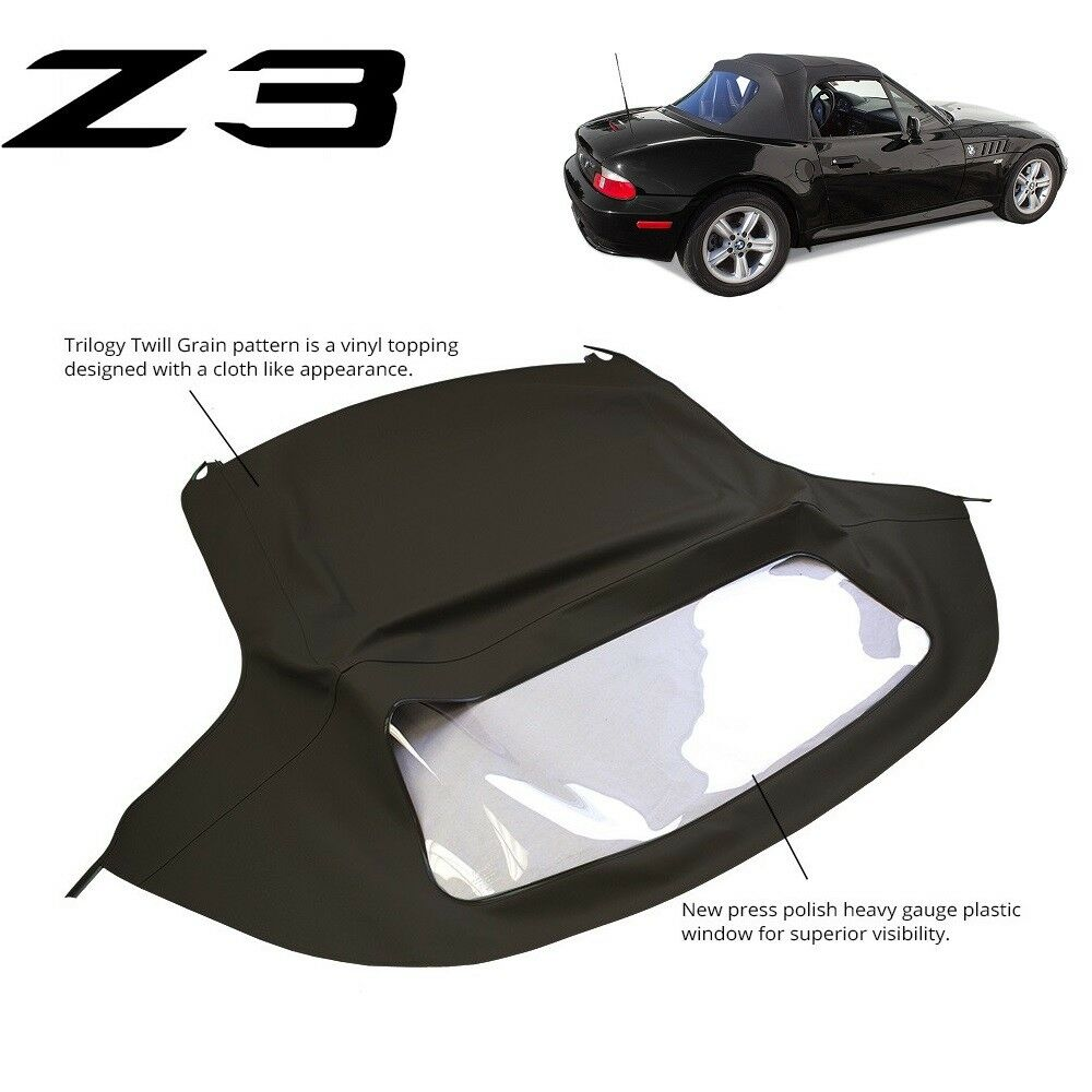 medium resolution of bmw z3 1996 2002 convertible soft top replacement plastic window black twill ebay