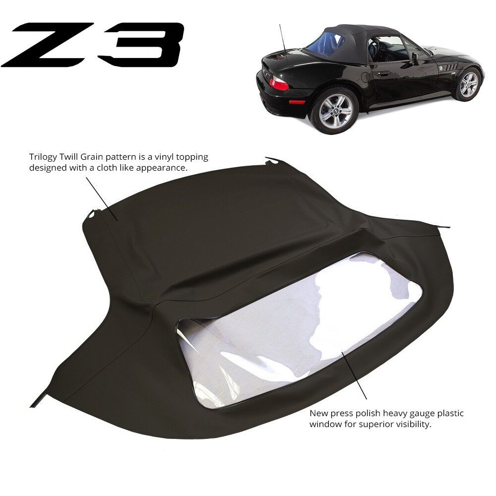 hight resolution of bmw z3 1996 2002 convertible soft top replacement plastic window black twill ebay